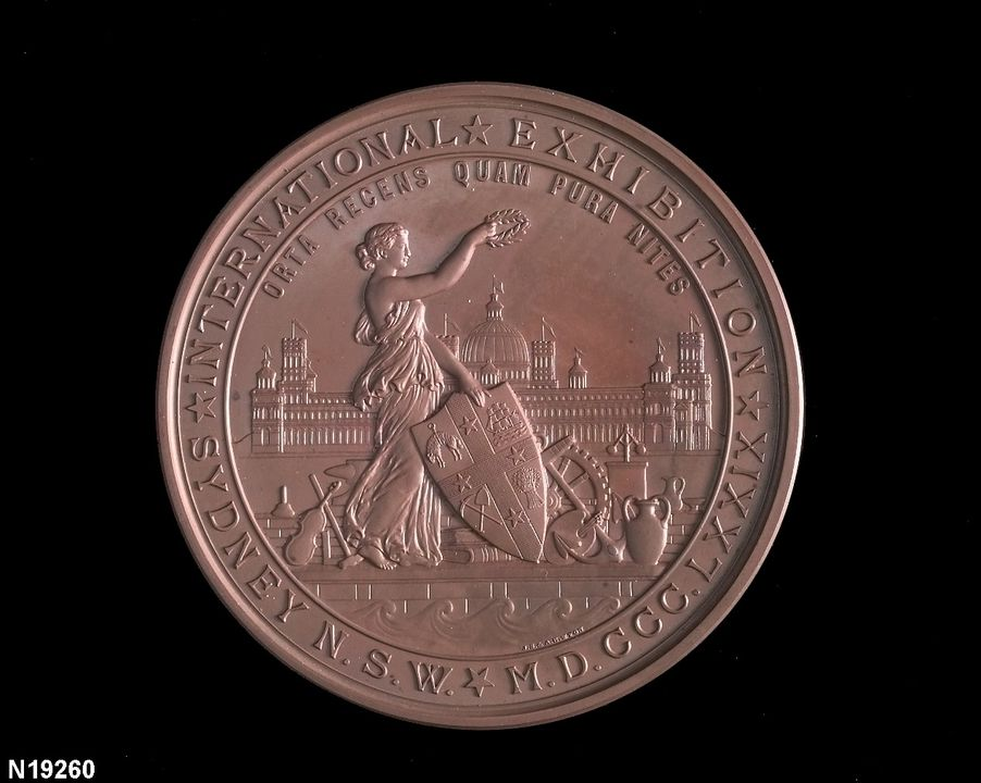 N19260 Medal, Australia: NSW, Sydney International Exhibition (large) copper alloy, 1879 (CI). Click to enlarge.