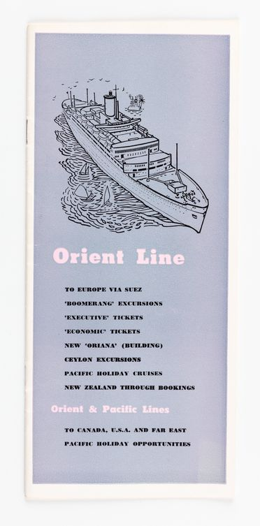90/58-1/7/22/1 Pamphlet, 'Orient Line cruises', paper, designed by Douglas Annand for Orient Steam Navigation Company Limited (Orient Line), Sydney, New South Wales, Australia, c. 1959