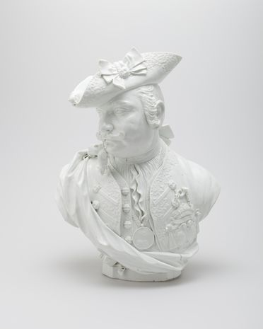 H5127 Portrait bust, 'Baron' Schmiedel, hard-paste porcelain, modelled by Johann Joachim Kändler, made by Royal Saxon Porcelain Manufactory, Meissen, Germany, 1739