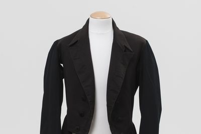 2015/69/1 Wedding dress coat, men's, wool, maker unknown, worn by Henry Paterson for his marriage to Elizabeth Fyfe, Sutton Forest, New South Wales, Australia, 31st January 1877