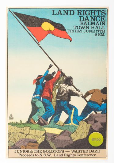 2007/56/53 Poster, 'Land Rights Dance', colour screenprint, paper / ink, designed by Chips Mackinolty, printed at Earthworks Poster Collective, Sydney, New South Wales, Australia, 1977