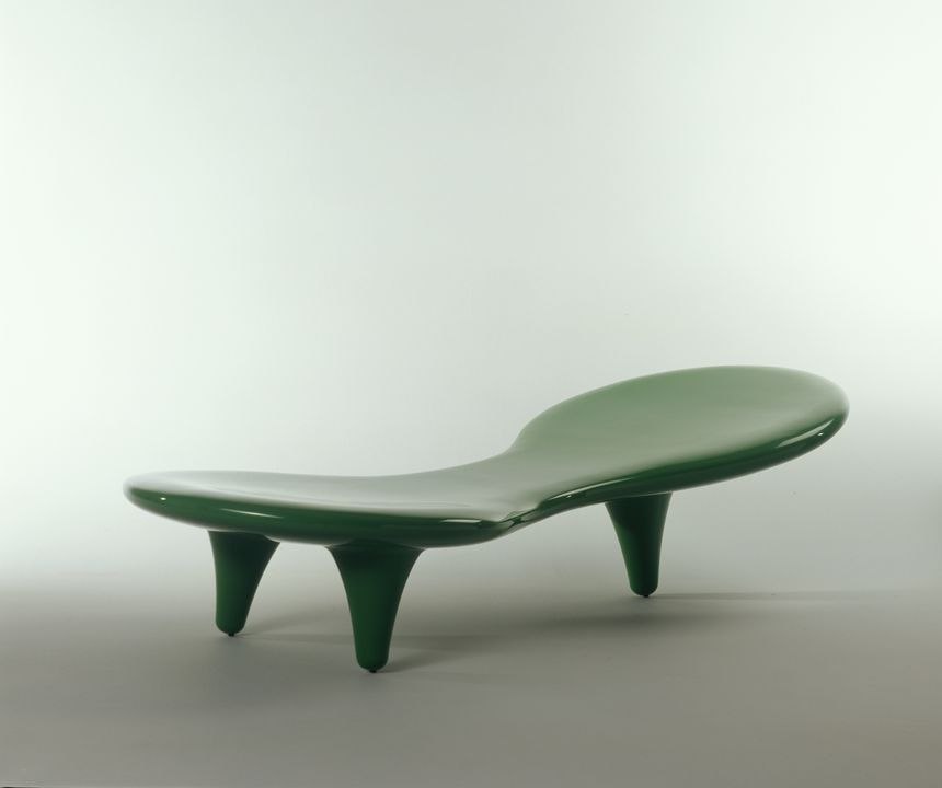 2001/113/1 Lounge, 'Orgone', fibreglass, designed by Marc Newson, Sydney, Australia, 1989, made by Cappellini, Italy, about 2001. Click to enlarge.
