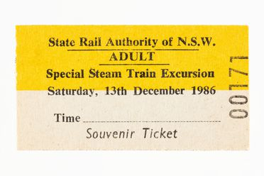 87/897-10 Railway ticket (1 of 311), 'Special Steam Train Excursion', paper, State Rail Authority of NSW, New South Wales, Australia, 1986