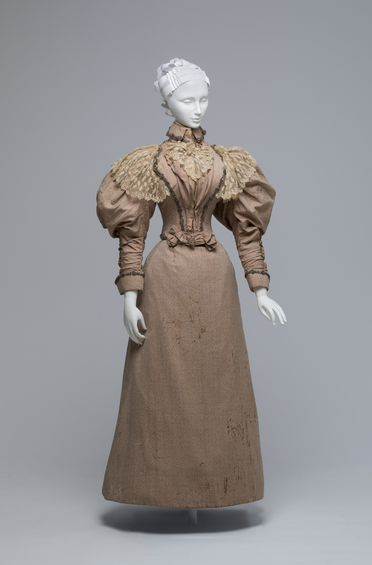 A8338 Dress, womans, comprising bodice, skirt and textile sample, silk / cotton / wool / metal / glass, worn by Elizabeth Cabrera (nee Shelley), possibly made by S C Rush, Sydney, New South Wales, Australia, 1896