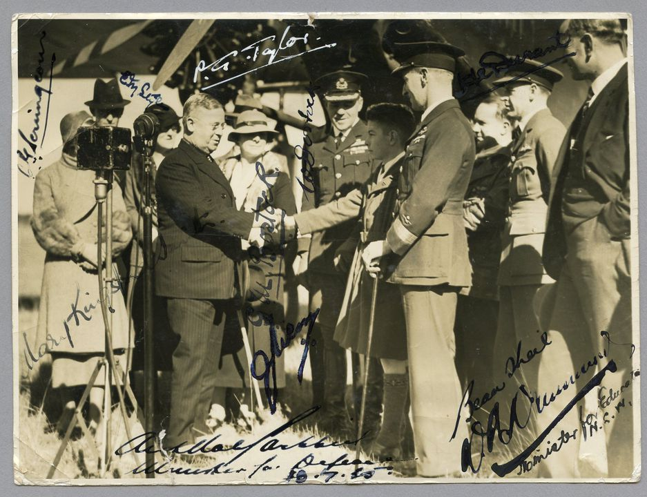 85/112-39 Photograph, black and white, handing over of the Southern Cross, paper, photographer unknown, Richmond, New South Wales, Australia, 1935. Click to enlarge.