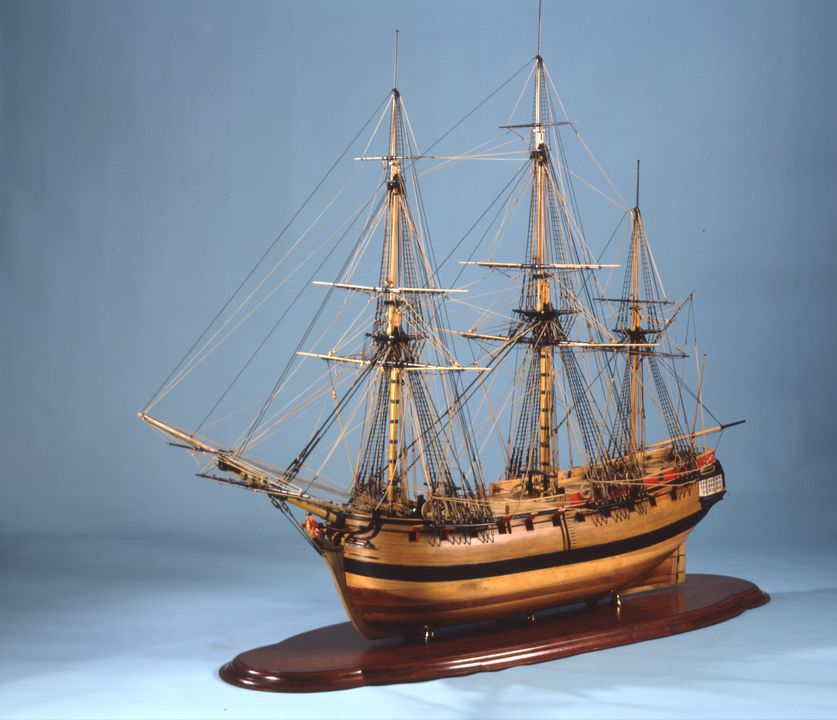 H4052 Ship model, HMS 'Sirius', armed storeship and flagship of First Fleet, timber/ brass, made by Geoffrey Ingleton RAN, for Sesqui-Centenary of arrival of First Fleet, Sydney, New South Wales, 1937-1938. Click to enlarge.