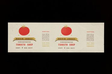90/58-1/17/1/8 Food packaging, tomato soup label, paper, designed by Douglas Annand for David Jones, Sydney, New South Wales, Australia, c. 1936