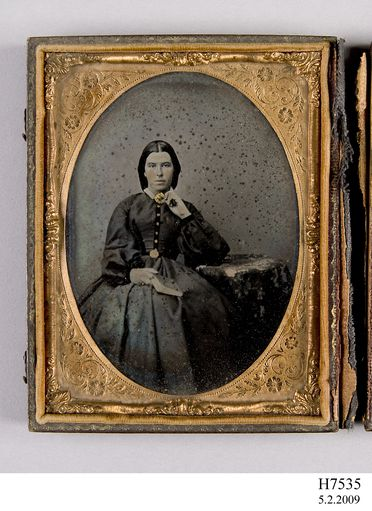 H7535 Photographic positive, hand-painted ambrotype, studio portrait of Miss Margaret Miller, collodion / paint / glass / wood / paper / metal / velvet, photographer unknown, 1865-1870