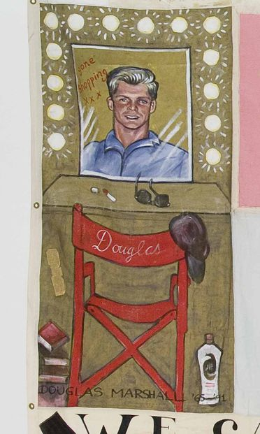 2011/109/5-3 Quilt panel, part of Australian AIDS Memorial Quilt, in memory of 'Douglas Marshall', cotton / paint / paper / glue, made in Sydney, New South Wales, Australia, 1992