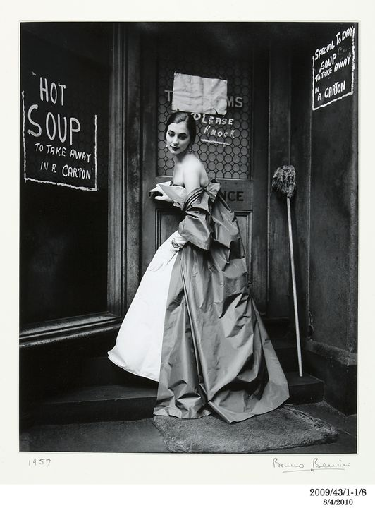 2009/43/1-1/8 Photographic print, black and white, 'Hot Soup', portrait of Janet Dawson, location Eastern Market (now demolished), photograph by Bruno Benini, Melbourne, Victoria, Australia, 1957. Click to enlarge.