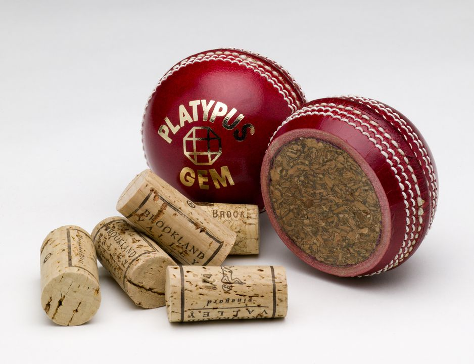 2001/32/1 Cricket ball and core, 'Platypus Gem', leather / cork / wool / rubber, Platypus Sporting Goods (Dave Brown) Pty Ltd, Australia, 2000. Click to enlarge.