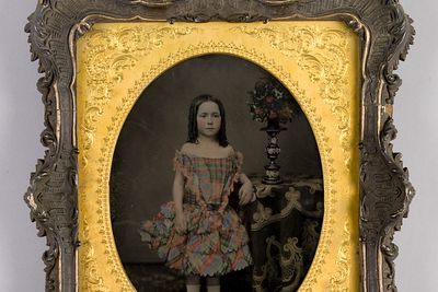 H5849-1 Photographic positive, studio portrait, hand-tinted ambrotype of the grand-daughter of Vice-Admiral Charles John Napier, collodion / paint / glass / wood / paper / metal / velvet, photographer unknown, England, 1855-1870