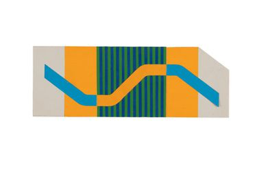 89/735-36/8/8 Mock-up, '4a Stair 6 Stair 7 Vary', coloured paper on cardboard, designed by Gordon Andrews for the Reserve Bank of Australia's Craigieburn (Melbourne) note printing works, Sydney, New South Wales, Australia, 1981-1982