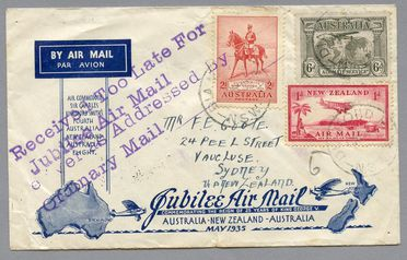 85/112-15 Philatelic cover, Jubilee air mail Australia to New Zealand, from Sydney, with 'too late' cachet, paper, maker unknown, Australia, 1935