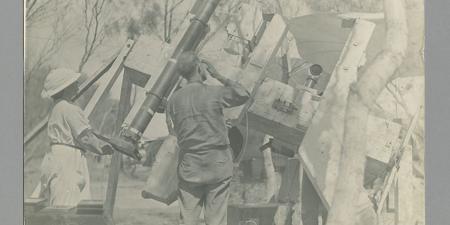 P3549-201 Photographic print, Lick Observatory eclipse expedition, the polar axis with spectrographs and Floyd telescope, paper / silver gelatin, photographer unknown, used at Sydney Observatory, Wallal, Western Australia, 1922. Click to enlarge.