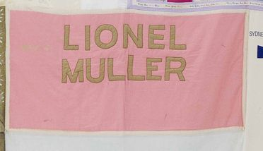 2011/109/5-4 Quilt panel, part of Australian AIDS Memorial Quilt, in memory of 'Lionel Muller', cotton / synthetic textile, made in Alaska, United States of America and New South Wales, Australia, c. 1989