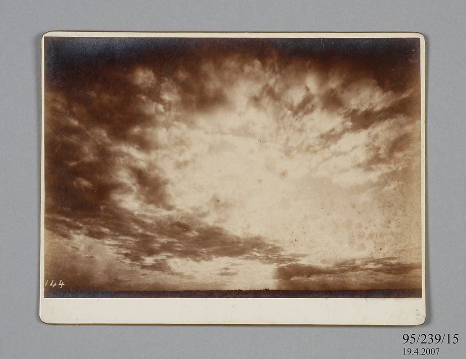 95/239/15 Photographic print, mounted on card, storm clouds over Sydney Observatory, paper / albumen emulsion, photographer James Short and Henry Chamberlain Russell, Sydney, New South Wales, Australia, 1880-1900. Click to enlarge.