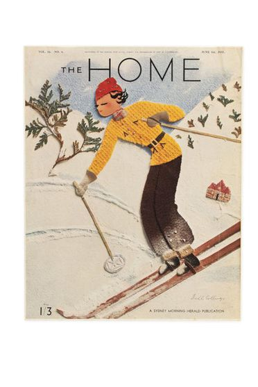 92/191-19/17 Proof, colour print, collage design, paper, designed by Dahl Collings for 'The Home' magazine, vol 16, no 6, Sydney, New South Wales, Australia, published 1 June 1935