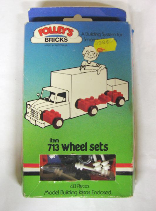 2014/118/2 Toy construction sets (2), 'Folley's Bricks', plastic / cardboard, designed and made by Alex Folley Pty Ltd, Victoria, Australia, 1970-1987. Click to enlarge.