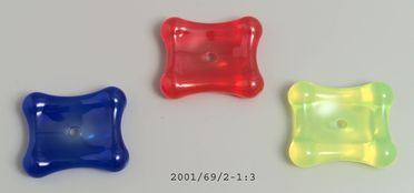 2001/69/2 Soap dishes (3), 'Titan', thermoplastic resin, designed by Marc Newson, England, made by Alessi, Italy, 1999