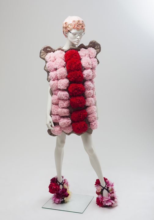2010/20/1 Outfit, 'Iced Vo Vo', comprising of dress and shoes (pair), womens, textile / metal / leather, designed and made by Luke Sales and Anna Plunkett of Romance Was Born, Sydney, New South Wales, Australia, 2009. Click to enlarge.