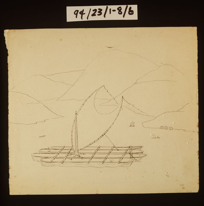 94/23/1-8/6 Drawing, pen, 'Annaparter Lackertoey. Port Moresby Sago Ship', Lawrence Hargrave, 1875?. Click to enlarge.
