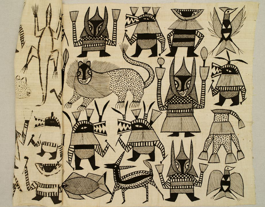 2013/8/23 Pictorial Korhogo cloth with mud decoration, cotton, designed and made by the Senufo people, Ivory Coast, Africa, mid 20th century. Click to enlarge.