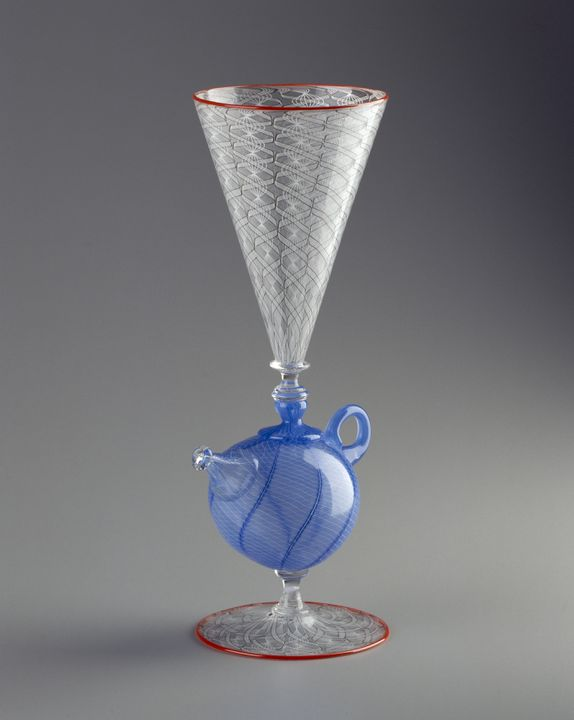 94/104/2 Goblet, teapot-shaped stem, blown glass, made by Richard Marquis and Dante Marioni, Canberra, Australian Capital Territory, Australia, 1994. Click to enlarge.