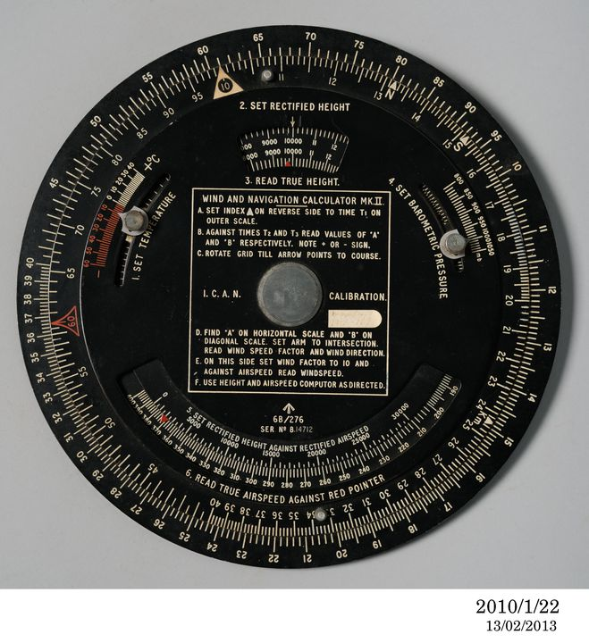 2010/1/22 Calculator and associated card, Wind and Navigation, Mk.II, metal, unknown maker, c. 1940. Click to enlarge.