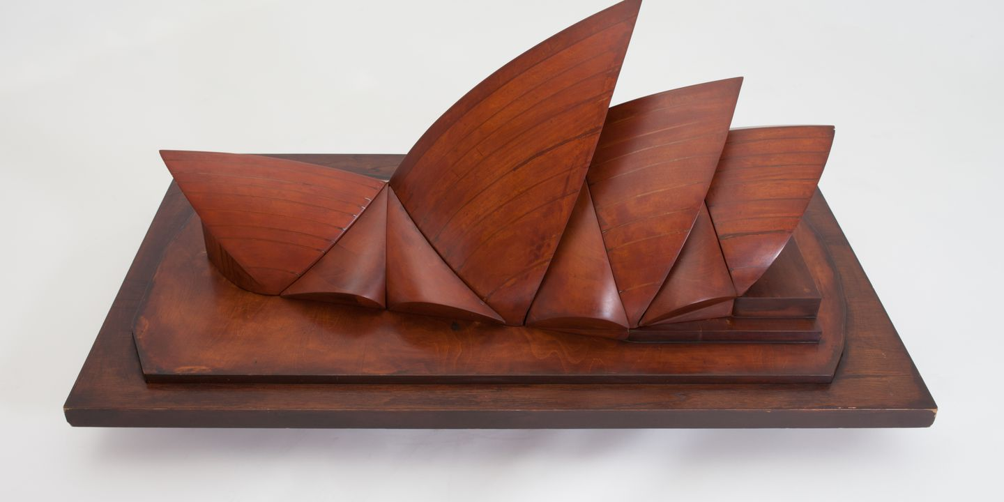 2003/34/1-5 Model, 'wind tunnel test', Sydney Opera House (Major Hall), built to indicate wind pressure distribution on the roof, polished wood, unknown maker for Ove Arup and Partners in collaboration with Jorn Utzon, England, 1960.. Click to enlarge.