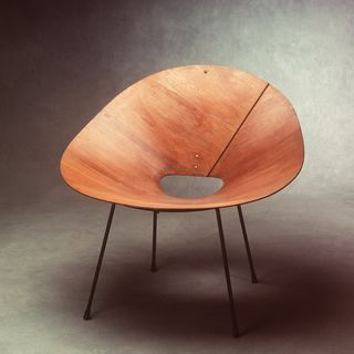 A8991-1 Wooden chair, 'Kone', plywood shell, shaped marine plywood / metal, designed and made by Roger McLay, legs made later under supervision of original designer, Sydney, Australia, c 1950