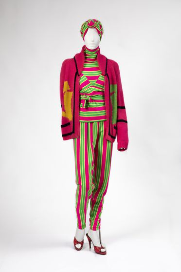 99/6/14 Outfit, womens, consisting of top, trousers, hat, cardigan, shoes (pair), brooch and earring, nylon / wool / plastic / metal, designed by Linda Jackson / Jenny Kee / Vivienne Westwood / Peter Tully, Australia / England, 1976