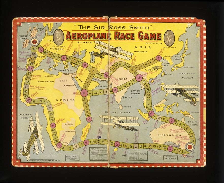 A8184 Game, 'The Sir Ross Smith Aeroplane Race Game, for two or more players' commemorating a record flight between London and Australia, 1919, printed in Sydney. Click to enlarge.