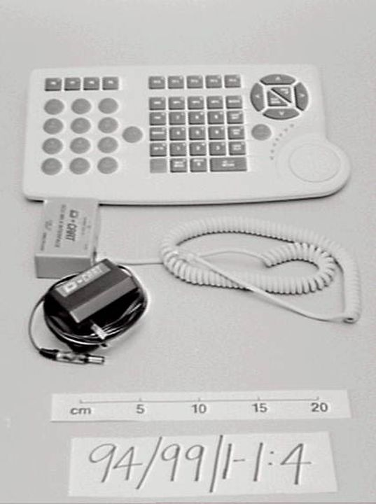 94/99/1 D-Cart studio control unit case, power pack, adaptor and keyboard cord, plastic/metal, d. Design and Industry Pty Ltd, m. AWA, Sydney, Australia, 1994. Click to enlarge.