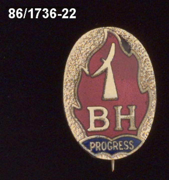 86/1736-22 Badge, Beacon Hill High School, school crest & motto, gilt with red & blue enamel.. Click to enlarge.
