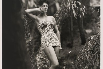 2009/43/1-1/10 Photographic print, black and white, model Francine Brown wears Sutex swimsuit, location Kew Boulevard, photograph by Bruno Benini, Melbourne, Victoria, Australia, 1957