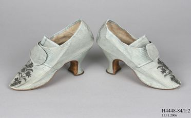 H4448-84 Buckle shoes (pair), with buckle, part of Joseph Box collection, womens, silk / leather / linen / metal / steel, maker unknown / Boulton & Smith, England, 1780-1804