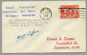 85/112-17 Philatelic cover, South Australian Centenary Air Race, signed, paper, used by E Crome, Sydney, New South Wales, Australia, 1936