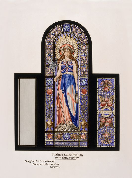 85/229 Painting, stained glass window, Town Hall, Sydney, paper / watercolour, designed by Lucien Henry for Cenetennial Hall, made by Goodlet & Smith Ltd, Sydney, New South Wales, Australia, 1888. Click to enlarge.