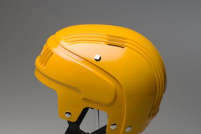 87/1040D Sports safety helmet, 'Stackhat', with packaging, plastic / metal / card, designed by PA Technology, made by Rosebank Products Pty Ltd, Victoria, Australia, 1987