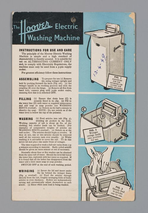 Hoover brand electric washing machine instruction card