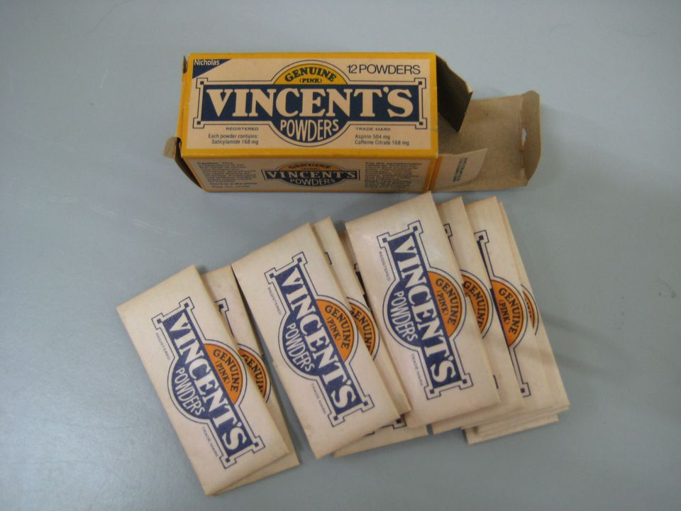 2003/194/2 Medication and packaging, 'Vincent's Powders ', medicated powder / paper, made by Nicholas Pty Ltd for Vincent Chemical Company Pty Limited, Cjadstone, Victoria, Australia, 1975-1985. Click to enlarge.