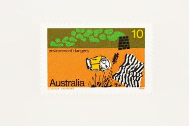 88/393-375 Postage stamp, 'Pollution Australia 10c', Environment dangers set, ink / paper, designed by Gordon Andrews for the Reserve Bank of Australia, Sydney, New South Wales, Australia, 1975