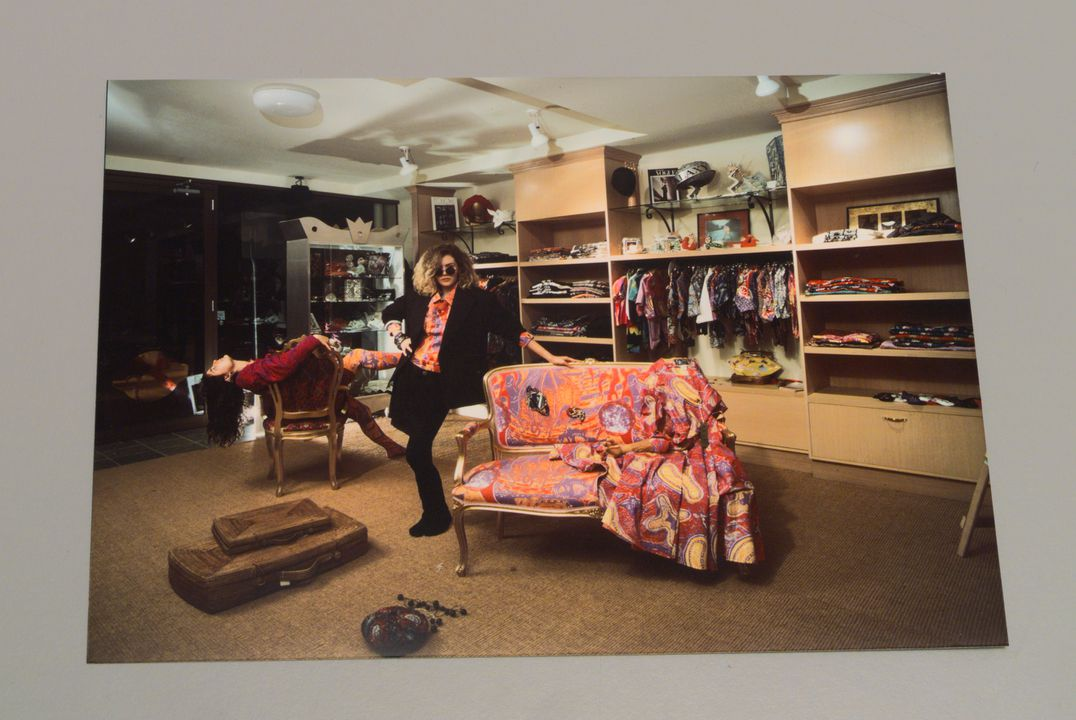 97/134/5 Photograph, part of archive, interior of the Galaxy shop, South Yarra, run by Sara Thorn and Bruce Slorach, colour, paper, by Kate Gollings, Melbourne, Victoria, Australia, 1986. Click to enlarge.