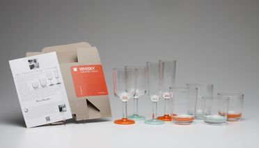 2013/56/1 Drinking glasses (8), 'Marc Newson Unbreakable Drinkware', with packaging and information sheet, plastic / polycarbonate / cardboard, designed by Marc Newson, United Kingdom, made by Palm Products, Melbourne, Victoria, Australia, 2013