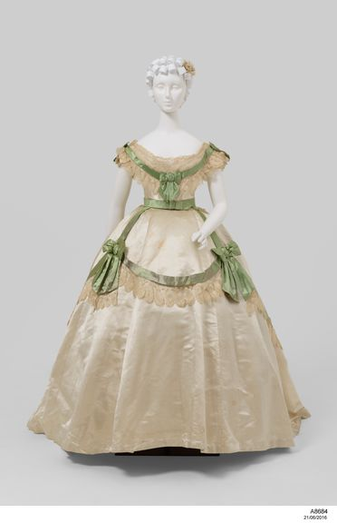 A8684 Wedding outfit, womens, comprising bodices (2), skirt, belts (2), with rosette, silk / cotton / metal, maker unknown, England, c. 1865