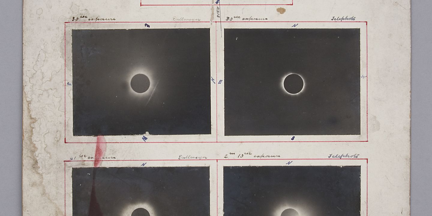 P3549-178 Photographic composite, five images of a solar eclipse mounted, paper / silver gelatin, used by Sydney Observatory, photographer J. W. Short, Flint Island, Kiribati, 3 January 1908. Click to enlarge.