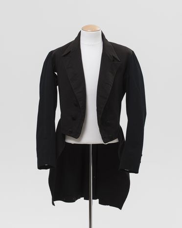 2015/69/1 Wedding coat, wool / metal / silk, maker unidentified, place of production unknown, worn by Henry Paterson for his marriage to Elizabeth Fyfe, Sutton Forest, New South Wales, Australia, 31st January 1877