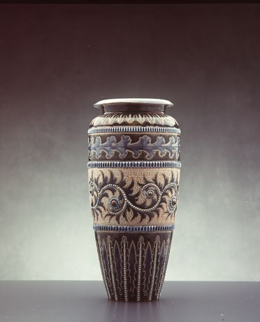 2845 Vase, stoneware, designed by George Tinworth, made by Doulton & Co, Lambeth, England, 1883