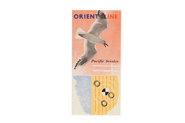 92/191-5/4 Pamphlet, 'Orient Line Pacific Service, Sailings and Fares', paper, designed by Dahl Collings for Orient Steam Navigation Company Limited, printed by Shepherd & Newman (Pty) Ltd, Sydney, New South Wales, Australia, 1955